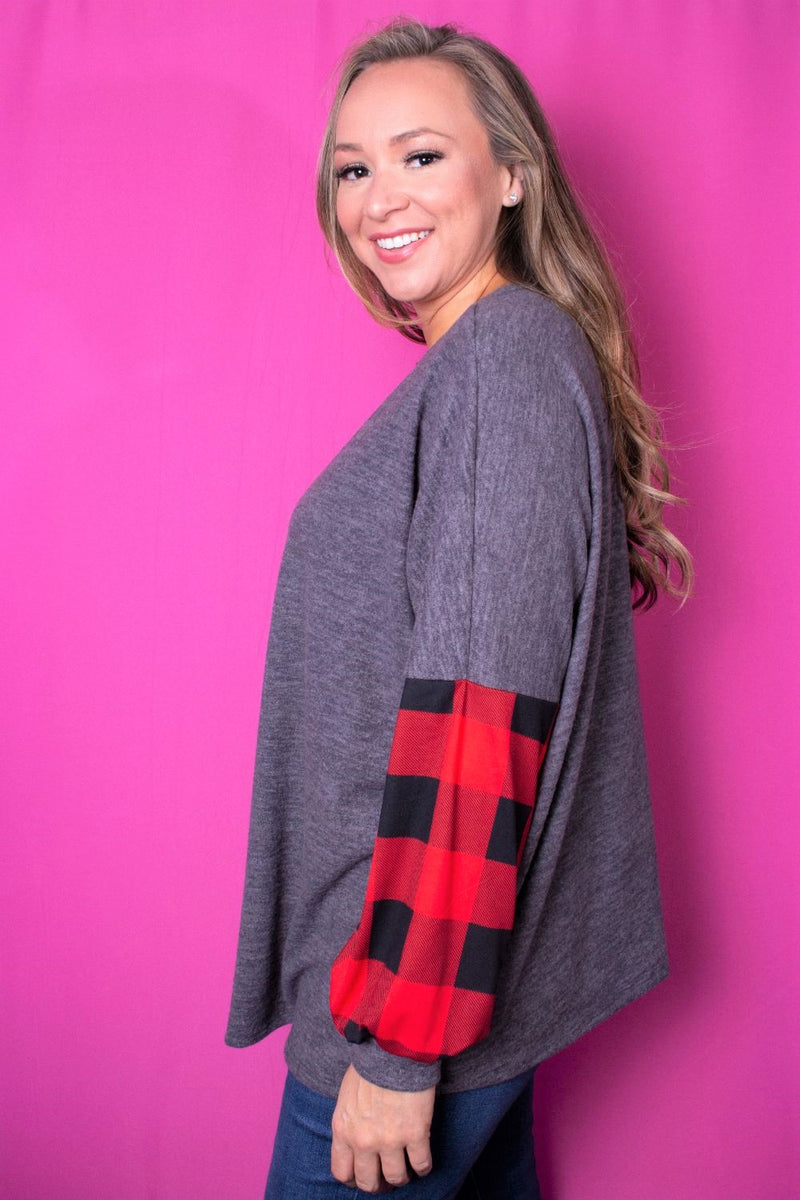 Plus Size Long Sleeve Plaid Print Round Neck Sweater