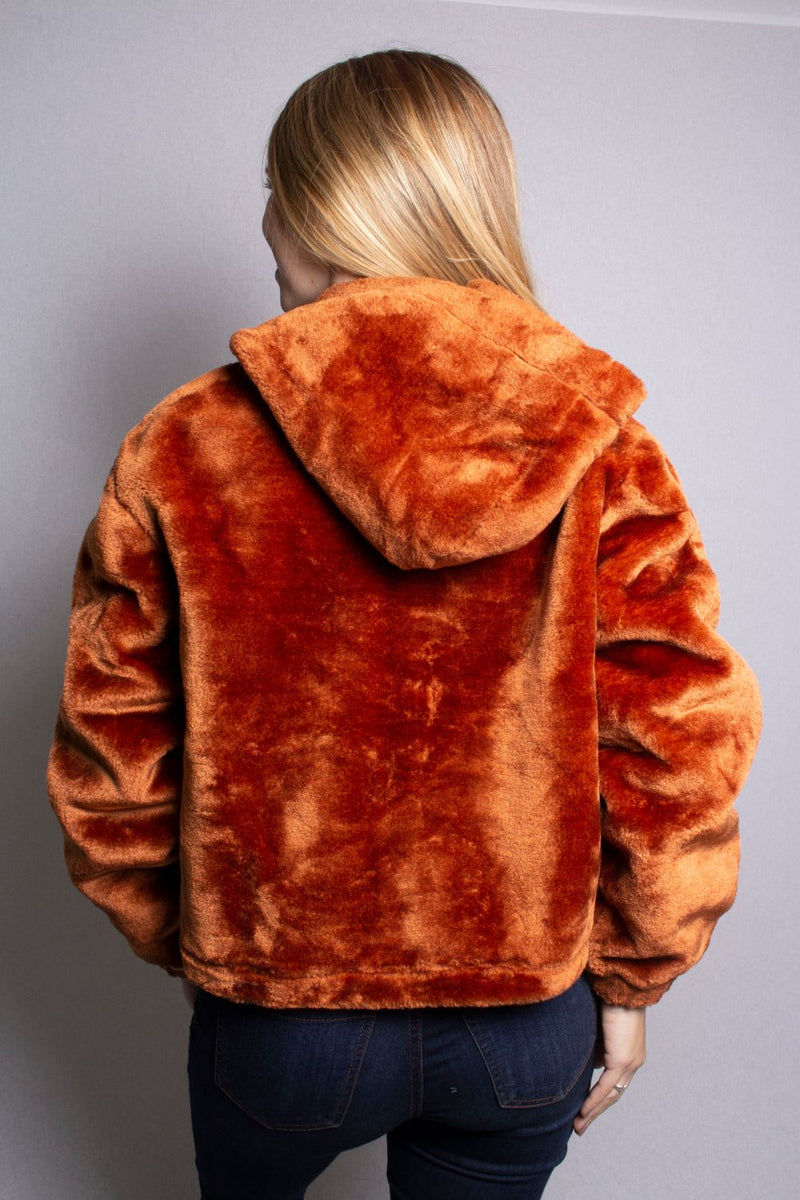 Women's Faux Fur Crop Hoodie Jacket
