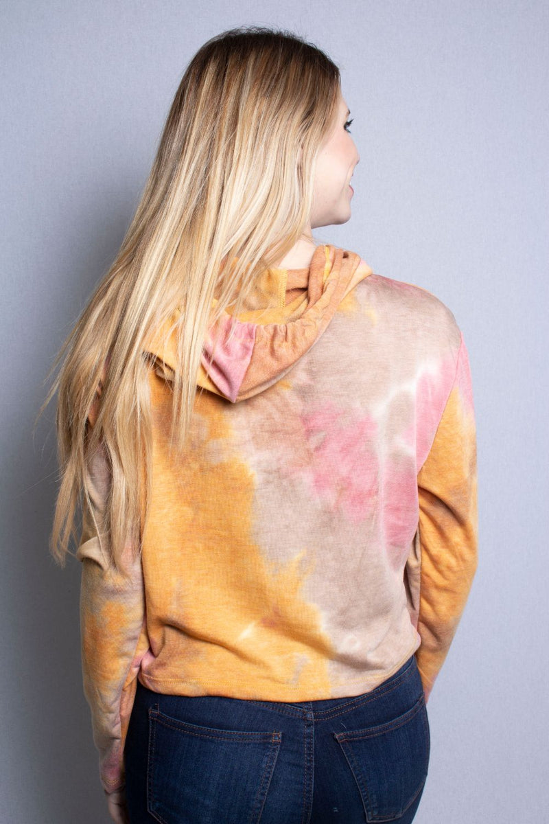 Women's Long Sleeve Crop Top Tie Dye Hoodie