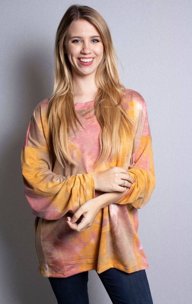 Women's Long Sleeve Tie Dye Loose Fit Top