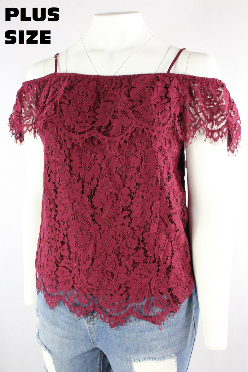 Women's Plus Size Off Shoulder Lace Top