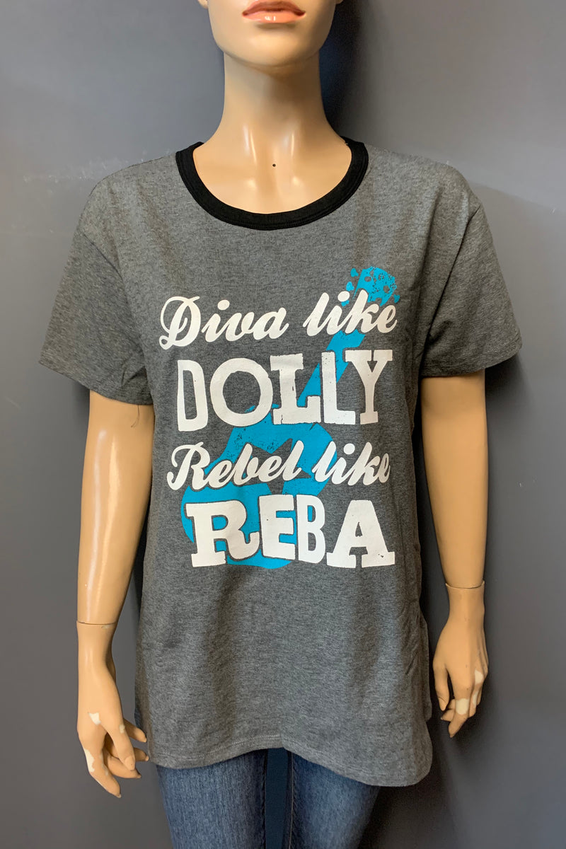 "Women's Printed ""Diva like DOLLY Rebel like REBA"" Top (LAST PACK)"