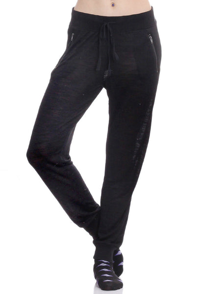 Black Marled Zipper Joggers