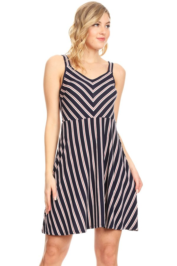 Women's Sleeveless Stripe Skater Dress