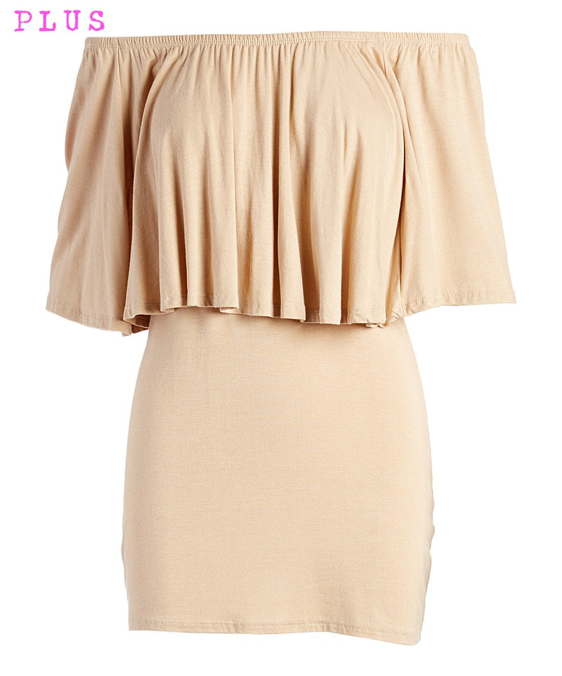 Plus Mocha Ruffle Off-Shoulder Tunic
