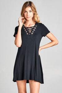 short sleeve lace up A-line dress single item