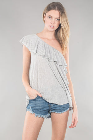 One Shoulder Ruffled Top