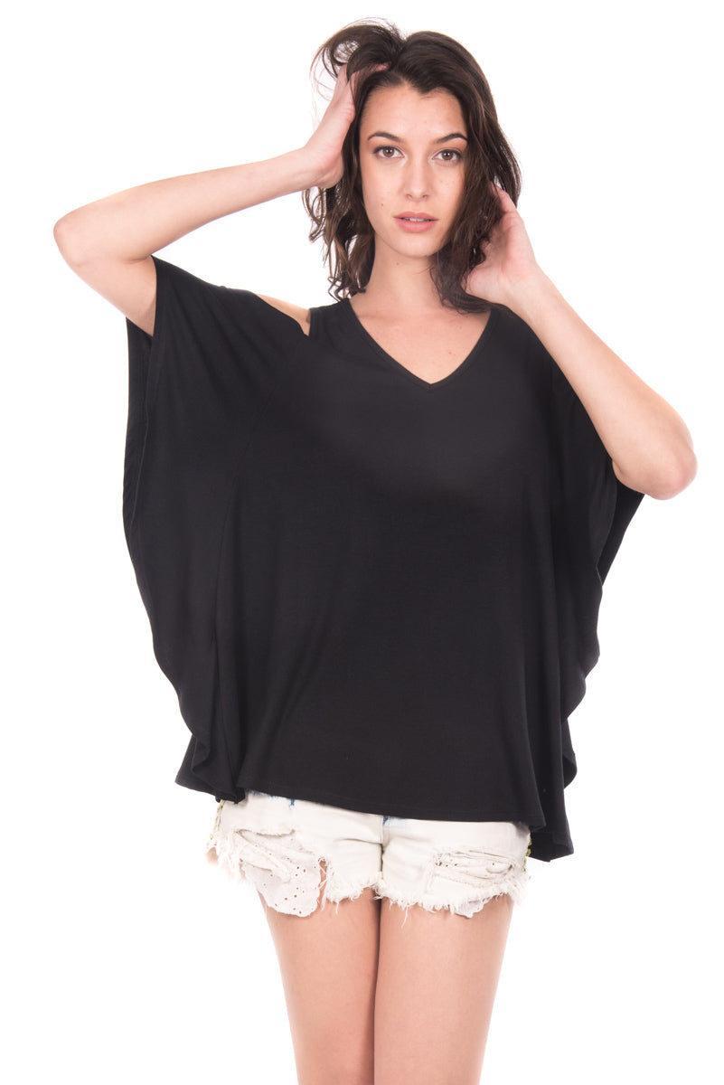 Casual V-Neck Cold Shoulder Top