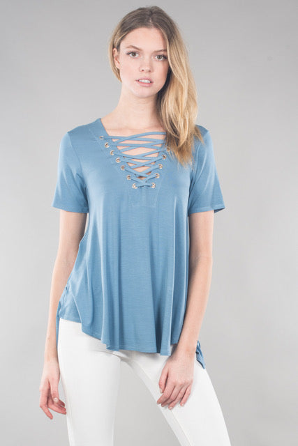 Women's Hi Low Lace Up Short Sleeve Top