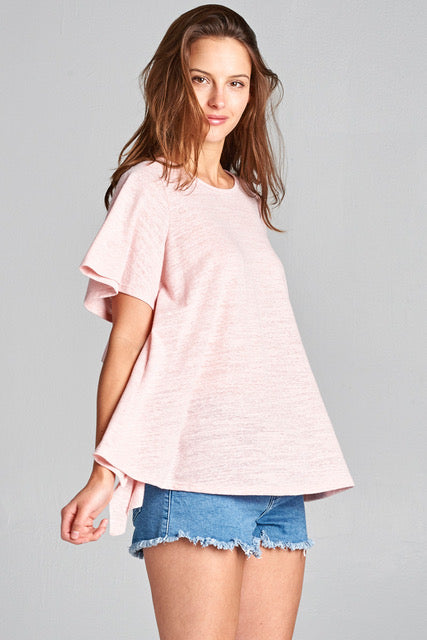 open back ruffled tee
