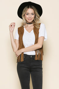 Suede Vest With Braided Trim And Fringe Details