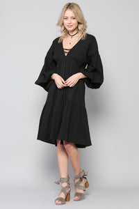 Bubble Sleeve Midi Dress With A V- Neckline