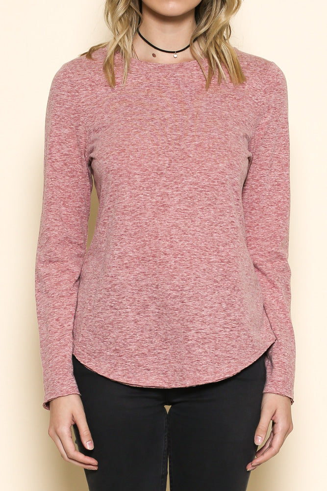women's long sleeve scoop neck top