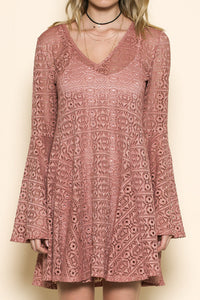 bell sleeve long sleeve lace dress with a v neckline