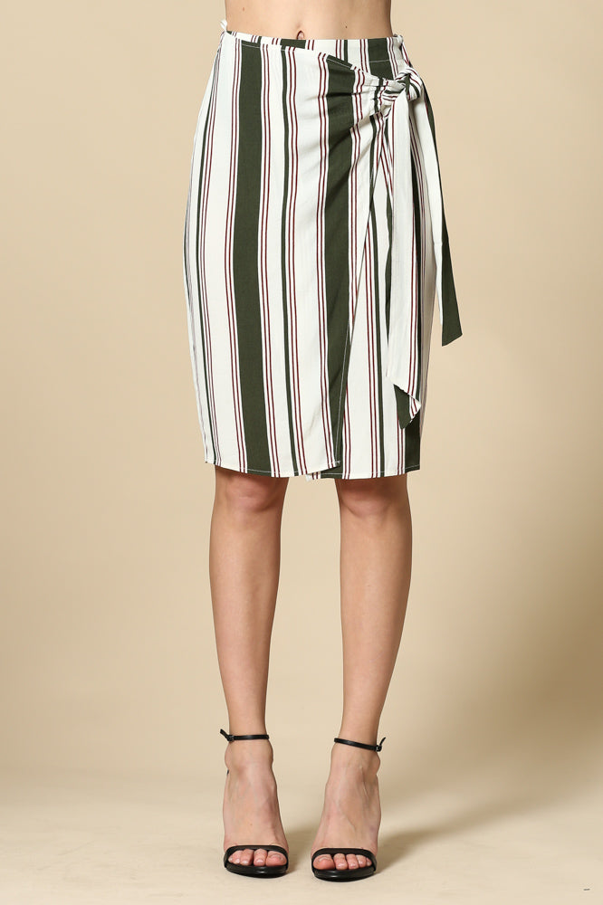 Women's High Waisted Striped Midi Length Wrap Skirt