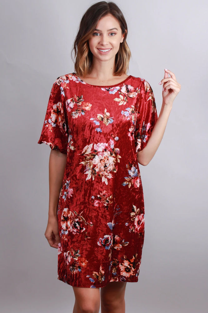 short sleeve crushed velvet floral print tunic dress