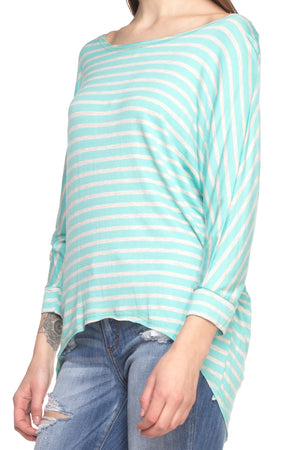 Crew Neck Long Sleeve High-Low Top
