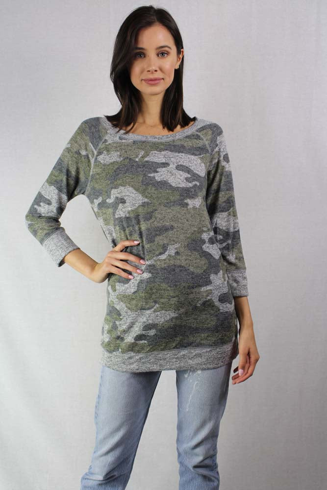 camo long sleeve light weight knit crew neck top