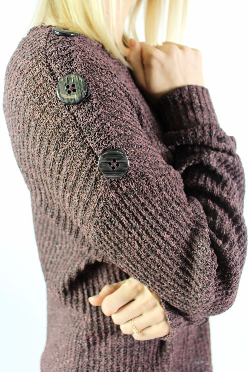 Women's Long Sleeve Sweater with Side Button Detail