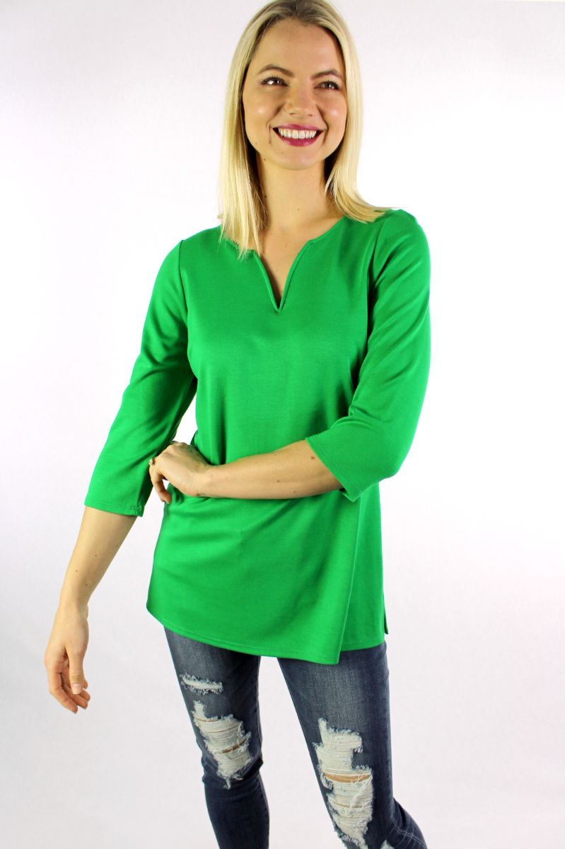 Women's 3/4th Sleeve Round Neck with Slit Top