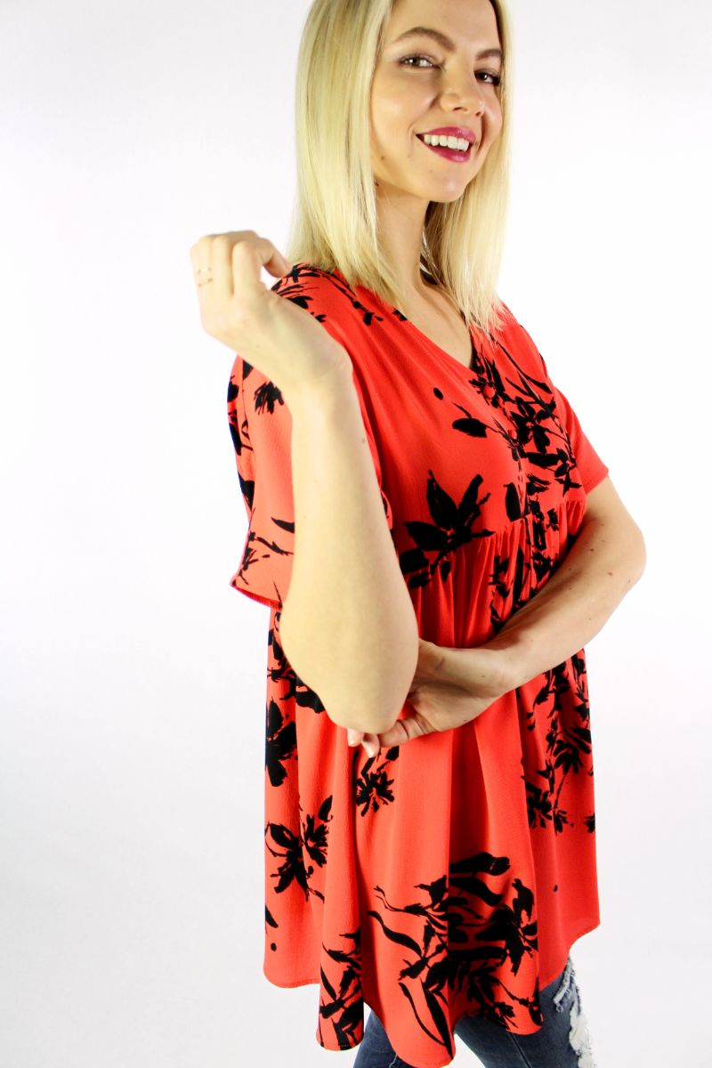 Women's Short Sleeve Floral Print Top with Cinched Waist