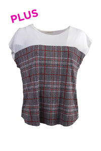 plus size ivory top with plaid details red