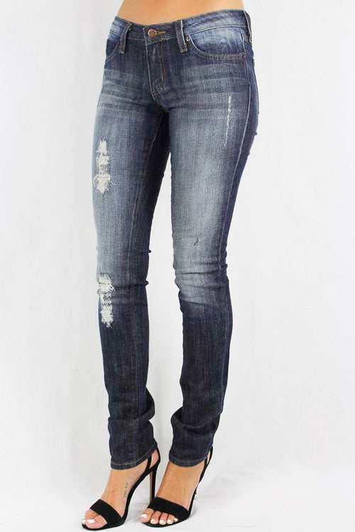 Stone Washed Distressed Women's Jeans