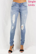 Lightly Distressed Stone Washed Women's Jeans