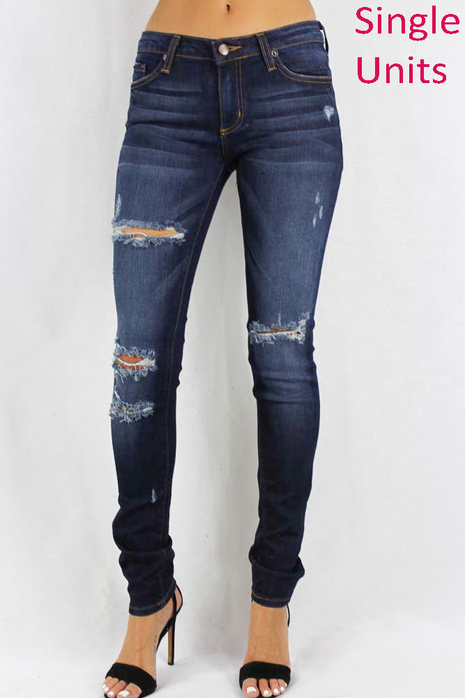Dark Stone Washed Distressed Women's Jeans