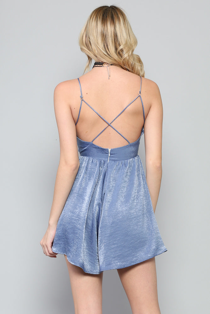 Women's Strappy V Neck Flare Romper