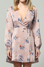 Long sleeve satin floral print wrap dress*