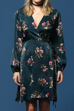 long sleeve satin floral print wrap dress