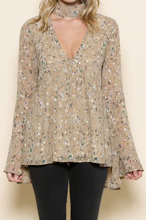 long sleeve floral print v neck top