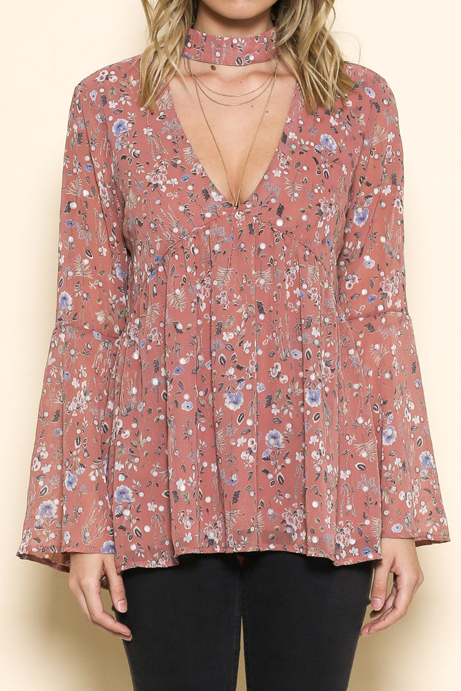 log sleeve floral print v neck top