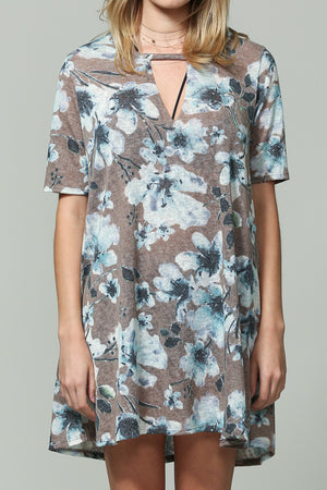 Oversize floral tunic/mini dress