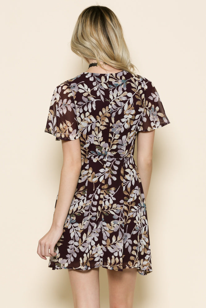 ruffle detailed short sleeve  v neck dress