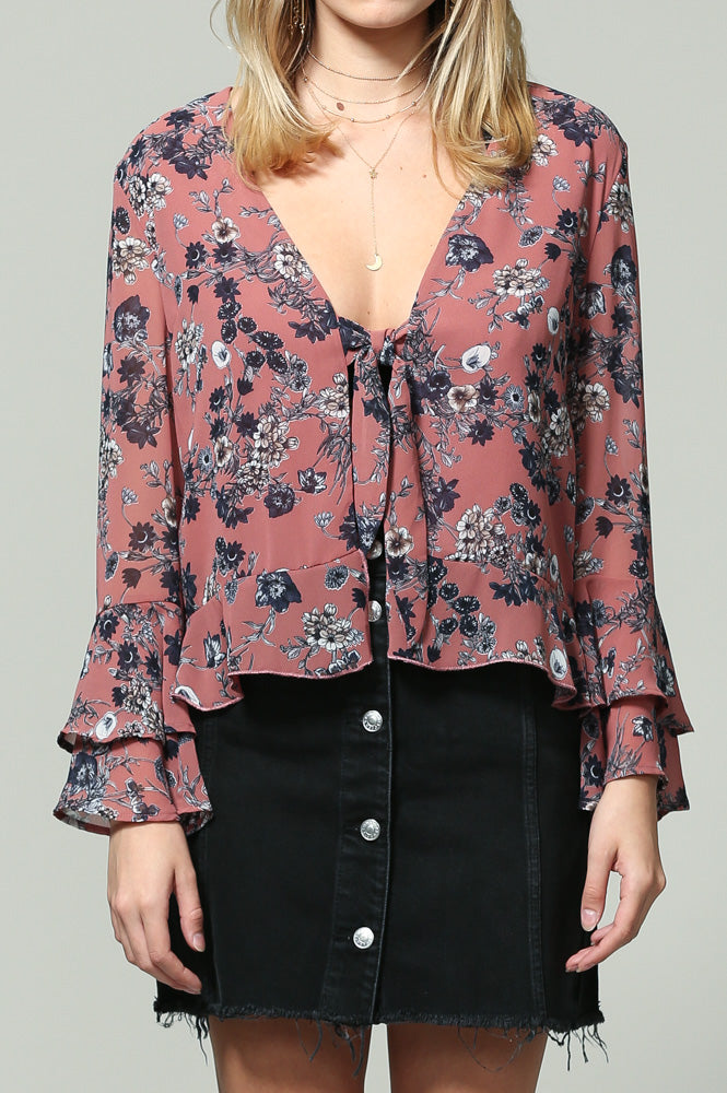 long sleeve floral print v neck ruffle sleeve top