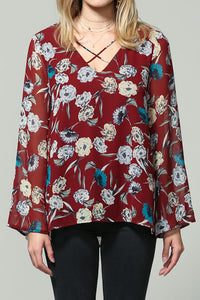 floral print chiffon flared long sleeve top