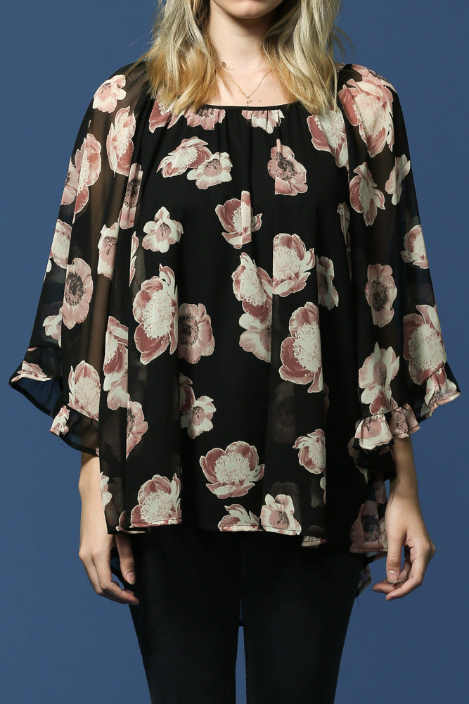 floral print over sized tunic top