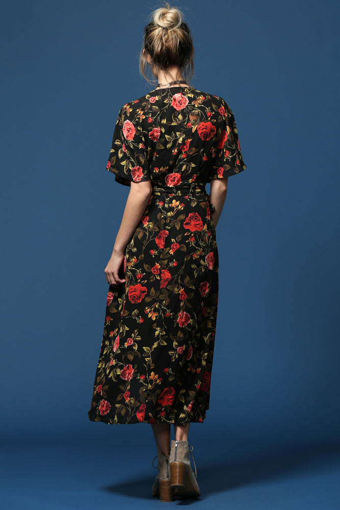 Women's Floral Print 3/4th Sleeve Wrap Hi Low Dress