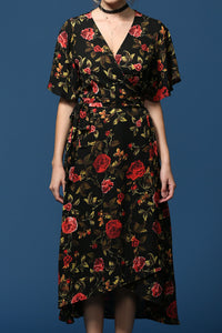 floral print 3/4th sleeve wrap dress