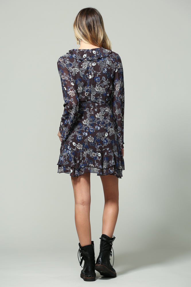 long sleeve floral print wrap dress