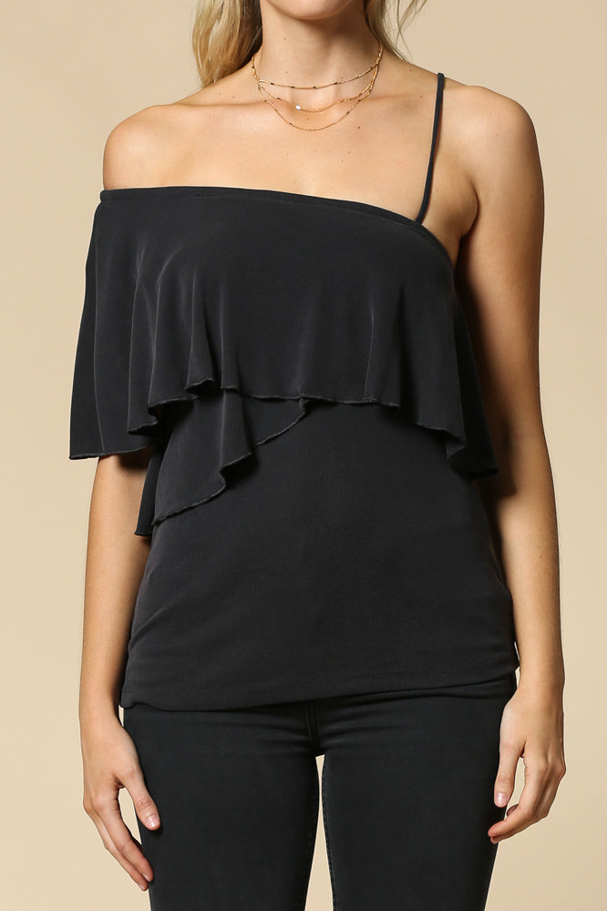 ribbed 2 layer one shoulder top