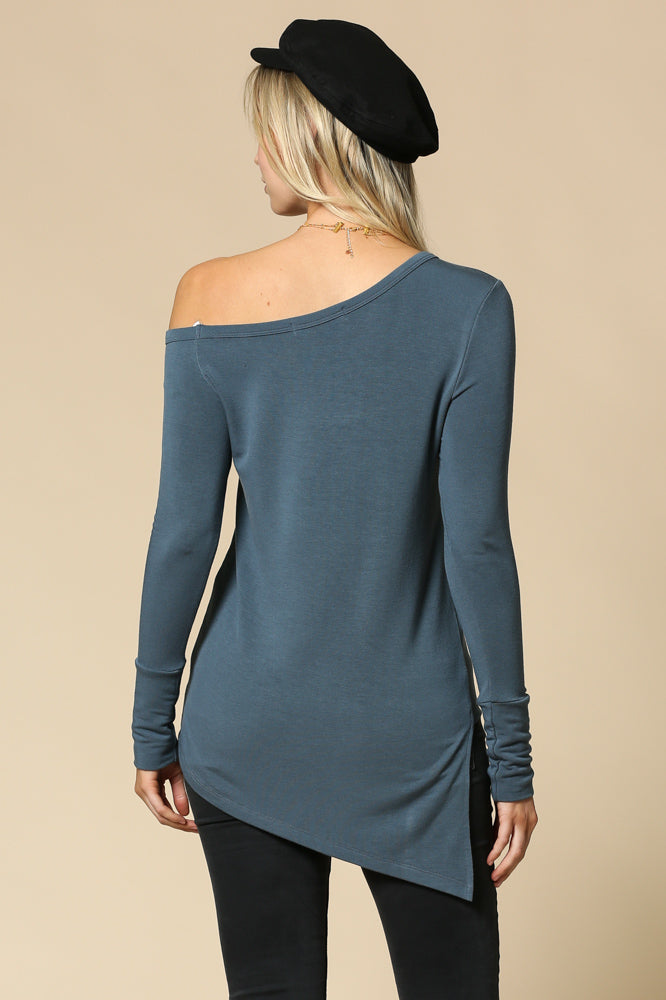 Women's Off Shoulder Long Sleeve Asymmetrical Top