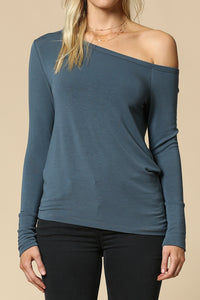off shoulder long sleeve asymmetrical top