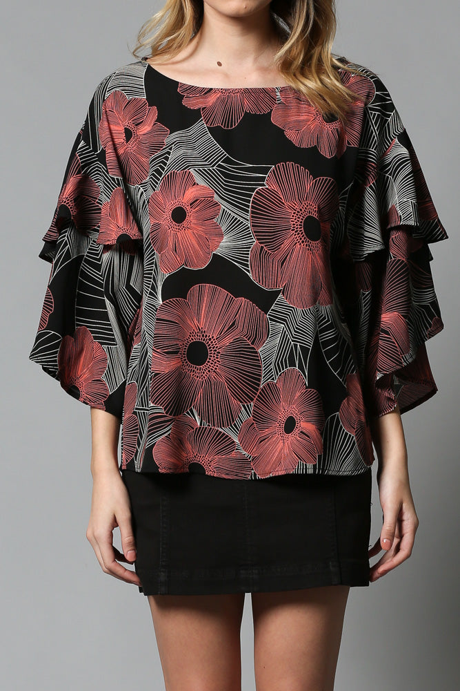 floral print  bell tiered 2/4th sleeve