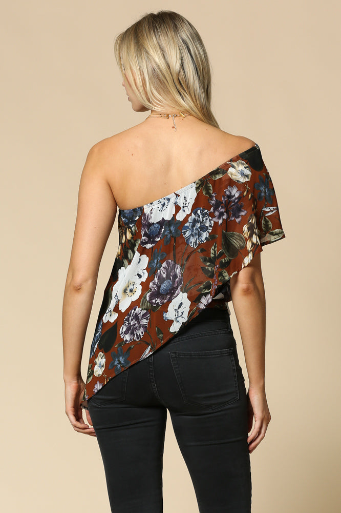 Women's Floral Print Chiffon One Shoulder Top