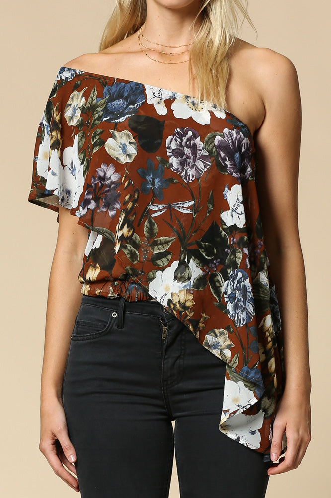 floral print chiffon one shoulder top