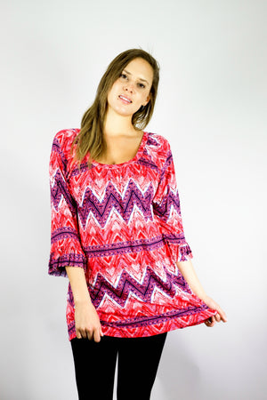 Bell Sleeve Ruffle Chevron Tunic Top