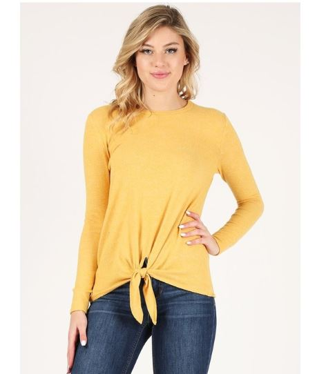 Long Sleeve Top with Front Knot